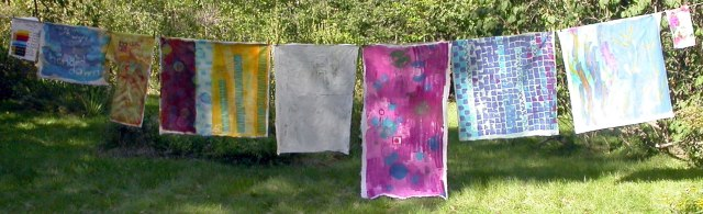 A week's worth of dyed fabric from a  workshop at Haystack